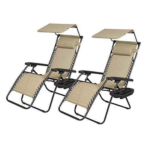 BMS 2 PCS Zero Gravity Chair Lounge Patio Chairs with Canopy Cup Holder