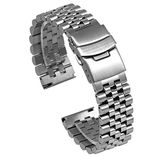 Quick Release Solid Stainless Steel Watch Band Bracelet Strap 20mm/22mm/24mm Double Locking Clasp for Mens Women (22mm, - Double Strap Bracelet Watch