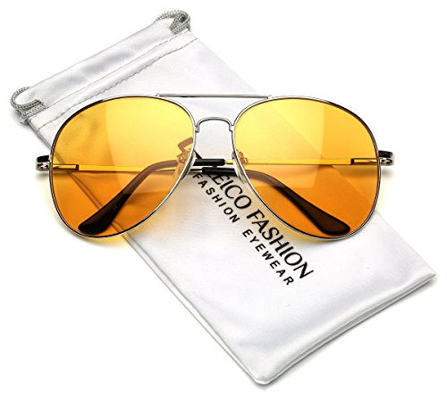 LARGE Classic Men's Full Rim Metal Aviator Sunglasses Yellow Night Driving - Rim Thin Wire Glasses