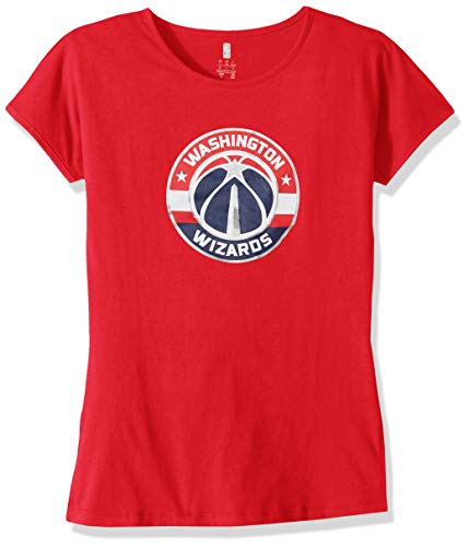 Outerstuff NBA NBA Youth Girls Washington Wizards Primary Logo Short Sleeve Dolman Tee, Red, Youth Medium(10-12)