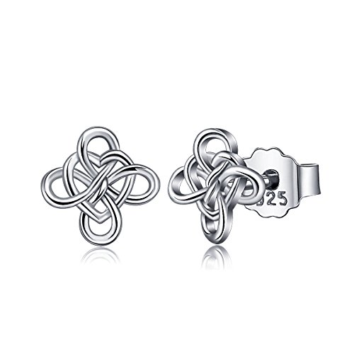 AEONSLOVE 925 Sterling Silver Stud Earrings, Good Luck Irish Celtic Knot Jewelry Gifts for ()