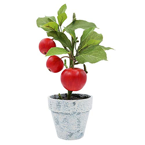 - XiaZ Artificial Apples Potted Tree Plants, Fake Fruit Plant Bonsai Home Indoor Office Party Decoration 12 Inch