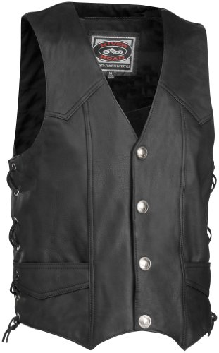 River Road Wyoming Nickel Leather Vest Black 2XL