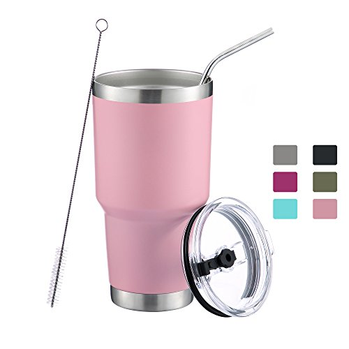 DYNAMIC SE 30oz Tumbler Double Wall Stainless Steel Vacuum Insulated Travel Mug with Splash-Proof Lid Metal Straw and Brush by DYNAMIC SE