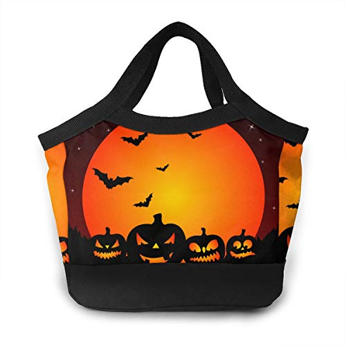 Lunch Bag - Halloween Bats Pumpkin Patterns Bento Bag For Gym Hiking Picnic Travel Beach, Women/Men Kids Lunch Holder Totebox Portable Leakproof Snacks Organizer -