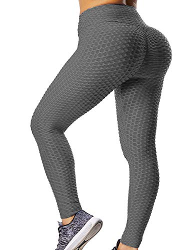 GILLYA Booty Yoga Pants Women High Waisted Ruched Butt Lift Textured Tummy Control Scrunch Leggings Black, Small