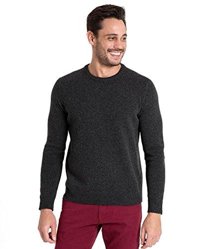 WoolOvers Pullover mit Rundhalsausschnitt aus Lammwolle für Herren Charcoal, M