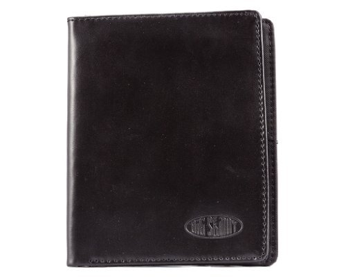 Big Skinny Men's Hipster Leather Bi-Fold Slim Wallet, Holds Up to 40 Cards, Black