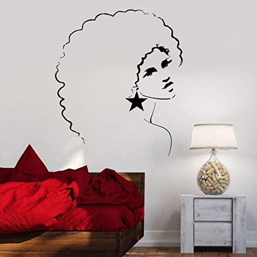 TWJYDP Wall Stickers Wallsticker Girl Sexy Vinyl Wall Decal Sexy Disco Girl Woman Afro Hair Style Mural Bar Salon Bedroom Home Decoration 56X70Cm ()