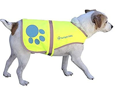 Reflective Dog Vest, Medium. Neon Yellow Waterproof Velcro Jacket with Florescent Reflectors. FREE BONUS Matching Reflective Velcro Band for You! Great Raincoat for Pet while PM Walking - Reflects Car Lights for Safety. Also Used As Hunting Gear Dog Cloth