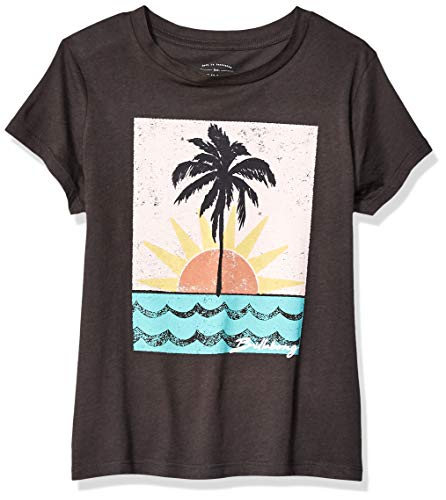 (Billabong Girls' Waves And Sun T-Shirt Off Black Large)