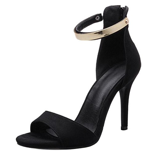 RAZAMAZA Mujer Moda Single Strappy Tacon de Aguja Sandalias Punta Abierta Tacon Alto Delgado Cremallera Zapatos Negro