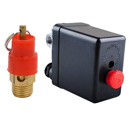 Central Pneumatic Air Compressor Pressure Switch Control Valve With 1/4'PT Thread Safety Pressure Relief Valve,Replacement Parts 90-120 PSI 4 Port 240V Air Compressor Pressure Switch Control Valve