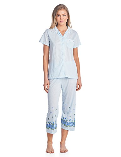 Casual Nights Lace Trim Women's Short Sleeve Capri Pajama Set - Dot Blue - 3X