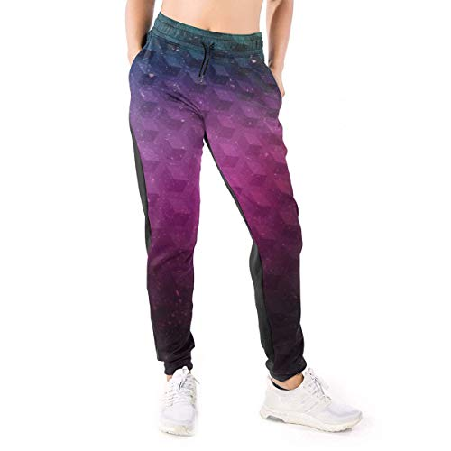 Qbeir Women's Jogger Sweatpants with Pockets, Drawstring Waist Color Block Active Yoga Workout Training Running Stretch Pants, Geometry Lounge Relaxed Fit Casual Pajamas (Regent Lounge)