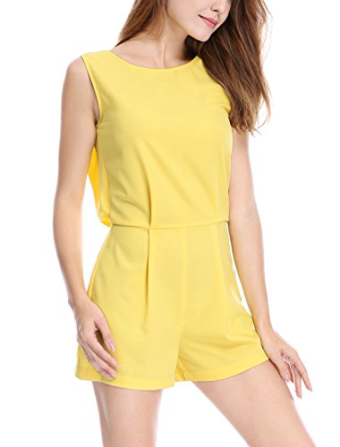 Womens Cut Out Lace Jumpsuits (Yellow) - 5