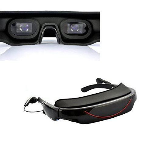 Sourcingbay Portable Video Glasses Eyewear with 72Inch Display 16:9 Hd Widescreen Multimedia Player 3D Stereo Video Glasses Virtual Theatre 4gb HDMI Supports AV IN Connection For Game Consoles, Smart Phones, DVD, TV, And PC by Sourcingbay