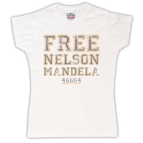 Nelson Mandela Free Nelson Mandela para mujer T-Shirt blanco