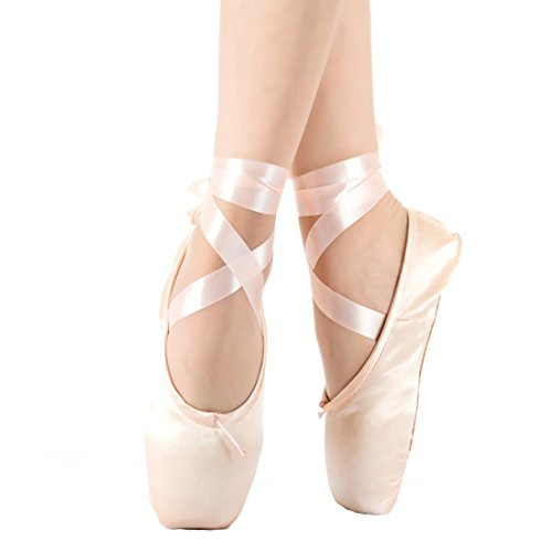 KUKOME New Pink Ballet Dance Toe Shoes Professional Ladies Satin Pointe Shoes (US4; Inside Lenght 215mm=8.46inch)