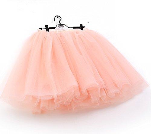 SCFL Jupe Tutu Femme Jupe Enjambeur Enjoliveur Ballet Jupe demi-glisse Longueur 50cm. Peach Rose