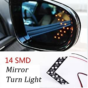 A Pair 14 LED 12V Universal Resrview Mirror Car Turn Lights Red Arrow