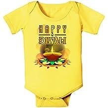 TooLoud Happy Diwali - Rangoli and Diya Baby Romper Bodysuit