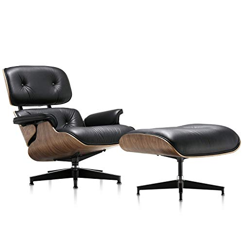 Mid Century Lounge Chair with Ottoman,Modern Classic Design,Palisander Wood Natural Leather,Heavy Duty Base Support for Living Room (A Black Walnut)