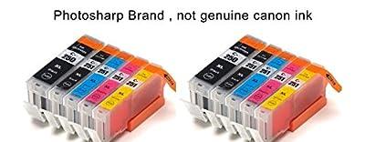 10 Photosharp (not Cannon) MX922 ink toner cartridge for 2 each of PGI-250XL CLI-251XL Black/cyan/magenta/yellow for Canon Pixma MX-922 all-in-one inkjet Photo printer