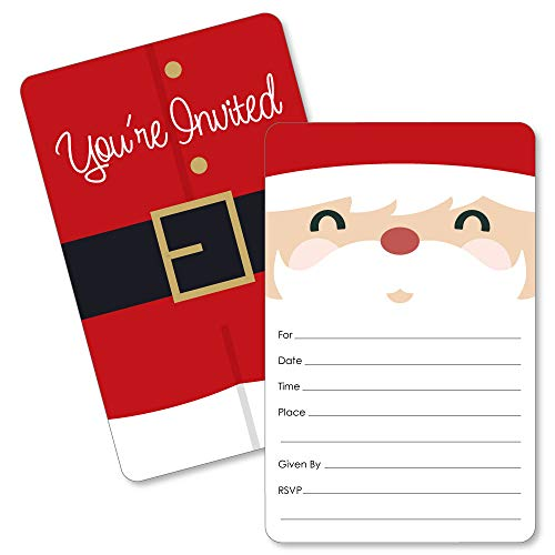 Jolly Santa Claus - Shaped Fill-in Invitations - Christmas Party Invitation Cards with Envelopes - Set of 12 -