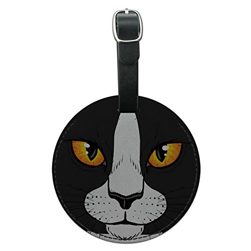 Graphics & More White Cat Face Pet Kitty Round Leather Luggage Id Tag Suitcase Carry-on, - Round With Cats Faces