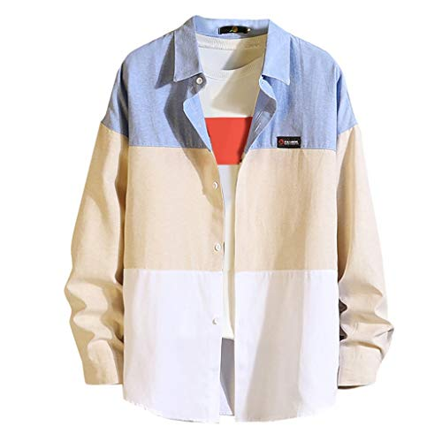 Sunhusing Men's Popular Tri-Color Stitching Button-Down Casual Lapel Loose Long-Sleeve Shirt Blouse T-Shirt Sky Blue]()