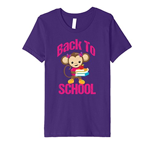 unisex-child Cute Back to School T Shirt | Cute Monkey Student Tee 10 Purple
