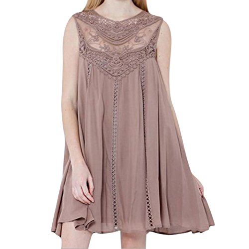 Women Casual Floral Chiffon Shirt Dress Tops Solid Lace Stitching O-Neck Sleeveless Chiffon Mini Dress (Medium(US6), Pink) ()