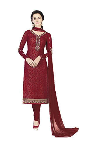 Da Facioun Indian Women Designer Partywear Ethnic Traditonal Red Salwar Kameez by Da Facioun