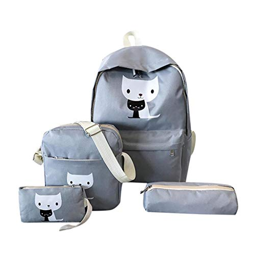 Cgeolhni Women Four-Piece Knapsack Printed Cat Backpack Travel Student Daypack Very Cute (Gray) ()