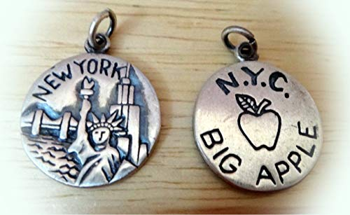 1 Sterling Silver 16mm says New York NYC The Big Apple Charm Double Sided Vintage Crafting Pendant Jewelry Making Supplies - DIY for Necklace Bracelet Accessories by -