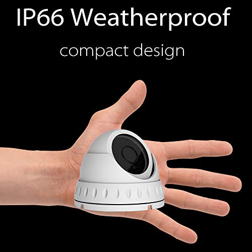 Honic Clear Night Vision 2MP 90° Wide Angle (AHD TVI CVI 960H) Indoor Outdoor Dome CCTV Camera, 1080P Security IR Analog Camera, Waterproof Eyeball Cam for Surveillance