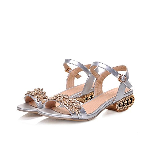 Womens US M Open Silver Glass 8 Sandals 1TO9 Toe Material Diamond B Soft HCqdBw7px