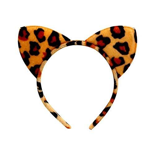 (Women Girl Plush Cloth Wrapped Headband Hair Hoop Cute Animal Cat Ears Headwear (Color - 3# Leopard))