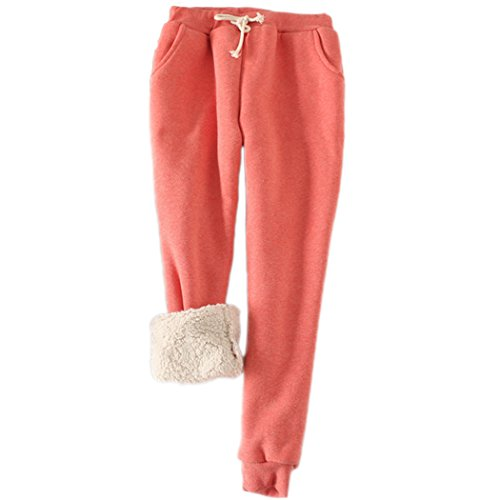 packitcute Womens Winter Casual Brushed Fleece Cotton Drawstring Sports Pants Harem Trousers