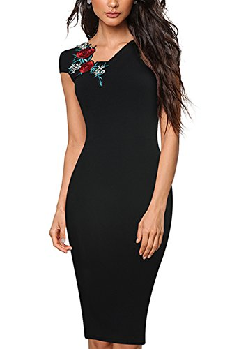 La Mujer Bodycon MIDI Oficina Bordado Vestido De Fiesta De Verano Black