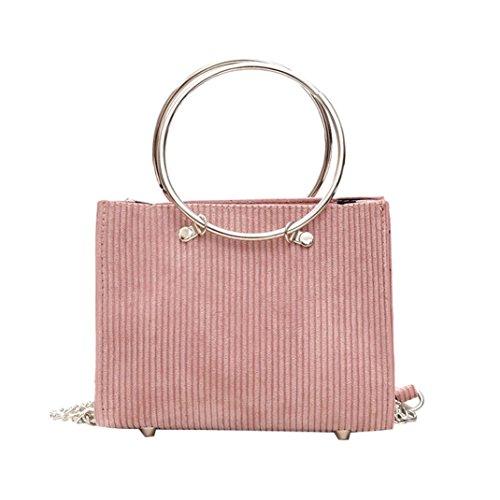 Sac à bandoulière, Sansee Sacs d'épaule de Crossbody de laine de décoration ronde de mode des femmes avec le sac à main Rose