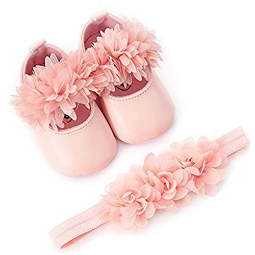 (Bebila  Flower Mary Jane Baby Moccasins with Elastic Headband - Summer Soft Sole Shiny Baby Girls Shoes (US 5.5/4.92