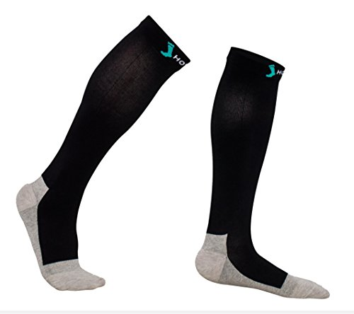 Merino Wool Business Travel Socks - Comfortable 20-30 mmHg Graduated Compression Socks for Men & Women, Wool/silver Yarn for Antimicrobial and Deodorant