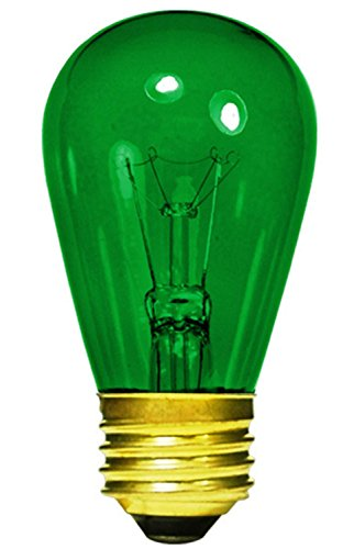 Club Pack of 25 Transparent Green E26 Base Replacement S14 Light Bulbs - 11 (Transparent Green Replacement)