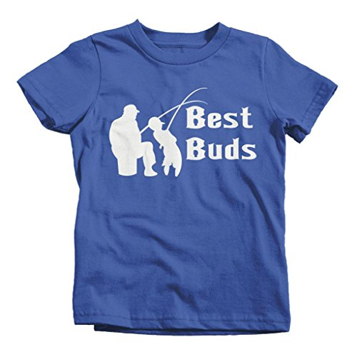 Shirts By Sarah Little Boy's Matching Father Son Best Buds Toddler Fishing T-shirt (Royal Blue 4T)