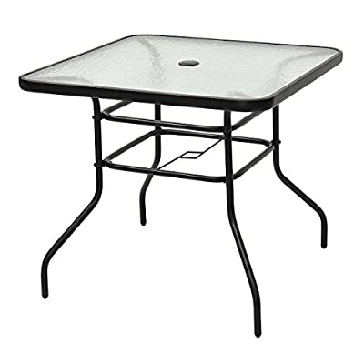 "Tangkula Patio Table Outdoor Garden Balcony Poolside Lawn Glass Top Steel Frame All Weather Dining Bistro Table (Square Black 32"")"
