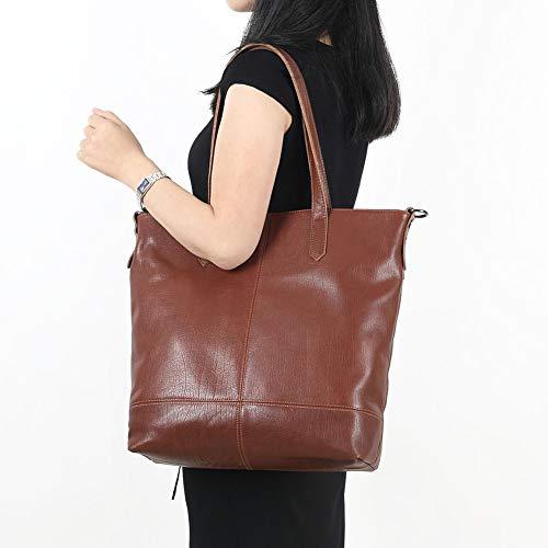 Capacité Vintage A Femme Sac Bandoulière Véritable À Grande En Main Pour Cuir Zhangzhiyua twPqH1x