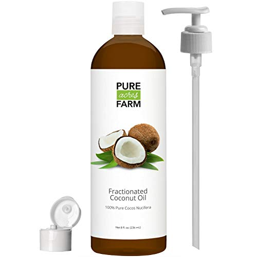 Fractionated Coconut Oil (Liquid) - with Pump + Free Recipe eBook! - Use with Essential Oils and Aromatherapy as a Carrier and Base Oil - Add to Roll-On Bottles for Easy Application (8oz)