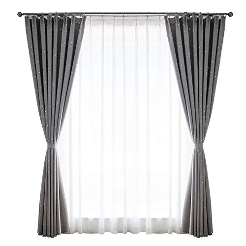 GUOQING Super Soft Bedroom Blackout Curtains Pencil Pleat Thermal Insulated Tape Top Curtains with Two Matching Tie Backs Light Grey Two Panels (Color : Width 2.5height 2.7 Meters)